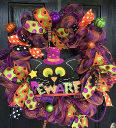 Halloween mesh wreath Black Cat Deco Mesh by ShellysChicDesigns