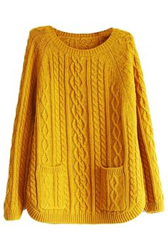 ROMWE | Twisted Pocketed Yellow Jumper, The Latest Street Fashion