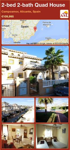 Quad House for Sale in Campoamor, Alicante, Spain with 2 bedrooms, 2 bathrooms - A Spanish Life Quad, Alicante Spain, Double Glazed Window, Security Door, Family Bathroom, Open Plan Kitchen, Double Bedroom, Cabo, Terrace