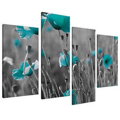 Teal Canvas Floral Wall Art Prints Black White Pictures XL 4139A