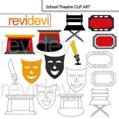 School theater clip art set features proscenium, mask, ticket, director's chair, and a lamp. A great collection for theatre performance, hollywood red carpet, and school drama themed creations.You will get 8 colored graphics and 8 blackline images. These images are great for any school projects such as for creating bulletin, event flyer, mini poster, classroom wall art, learning materials, and for more projects.You will get:- Each clip art/ line art saved separately in PNG format, 300 dpi…