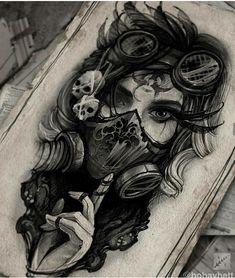 Creepy Tattoos, Dope Tattoos, Body Art Tattoos, Girl Tattoos, Tatoos, Tattoo Design Drawings, Tattoo Sketches, Skull Sleeve Tattoos, Girl Face Tattoo