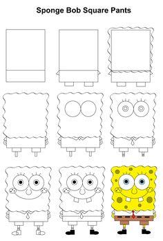 SpongeBob SquarePants step-by-step tutorial. - SpongeBob SquarePants step-by-step tutorial. Cute Easy Drawings, Realistic Pencil Drawings, Easy Cartoon Drawings, Art Drawings For Kids, Kawaii Drawings, Doodle Drawings, Drawing Sketches, Drawing Step, Easy Drawing For Kids