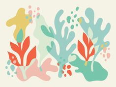 Seas: Working on some illustration/color/art directions for a project with my sister. Ocean Illustration, Digital Illustration, Graphic Illustration, Coral Design, Design Graphique, Motif Floral, Art Inspo, Design Art, Art Drawings