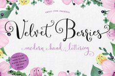 Velvet Berries | The Beautiful October Bundle | The Hungry Jpeg | Guide to dingbats and Open Type features in PDF file in folder.