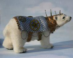2013 TOBY Award Alpaca Needle Felted Steampunk Panserbjorne Armored Ice Bear with Whiting & Davis Armor OOAK Artist Bear