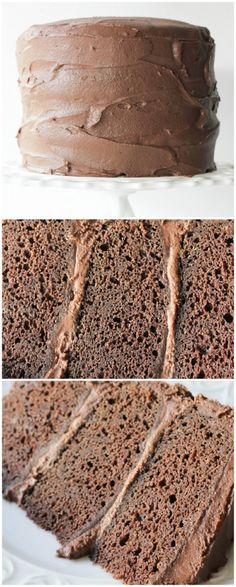 The BEST Chocolate Cake - a Magleby's copycat recipe for their famous chocolate cake! Dense, moist and rich! - bakedinaz.com