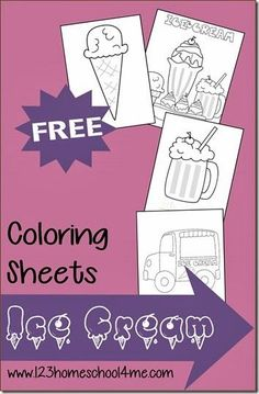 FREE Summer Ice Cream Coloring Pages - These coloring sheets are such a fun way for toddler, preschool, kindergarten, and first grade kids to strengthen motor skills and have some summer fun. Great for road trips too! Ice Cream Coloring Pages, Coloring Sheets For Kids, Cute Coloring Pages, Kids Colouring, Summer Ice Cream, Ice Cream Day, Summer Activities For Kids, Diy For Kids, Summer Fun