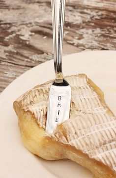 Brie Cheese Marker Hand stamped silverware by BeachHouseLiving, $12.00