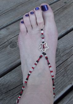 One Pair HandMade Bare Foot Sandals Beaded Foot by TCJdesigns, $24.00