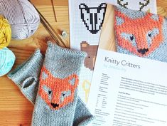 ♦♦♦ This listing is for a PDF PATTERN of the wrist warmers and six colour charts. ♦♦♦  The Knitty Critters are a gang of six cute colour charts waiting to adorn your knits using duplicate stitch or fair-isle. There's a fox, bear, badger, deer, stag and a wolf. The pattern includes a fingerless mitten pattern to get you started, but let your imagination run wild. For a tutorial on how to work duplicate stitch, see here: http://www.jessicabiscoe.co.uk/archives/knitting-t...