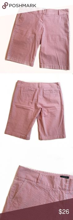 J. CREW | Pink Seersucker Bermuda Shorts Size 12 J. Crew Pink Seersucker Shorts Coloring is light pink and white vertical stripes.  Bermuda Shorts have two pockets  Size 12  Shorts are free of stains or holes.   Bundle two or more items in my closet for a discount :) J. Crew Shorts Bermudas