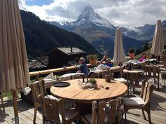View of the Matterhorn from Chez Vrony, a beautiful restaurant nestled on the mountain near Zermatt #travel #Switzerland
