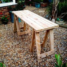 My husband has made me two of these trestle tables to display my driftwood onto when I do my craft fairs.The ...