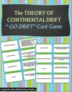 """Theory of Continental Drift This card set contains common vocabulary and evidence about the Theory of Continental Drift and Alfred Wegener. I use the cards during my middle school Earth unit to play """"Go Drift"""" (A continental drift version of """"Go Fish"""") for reinforcement, or when students finish an activity early and need something to do. They love it!"""