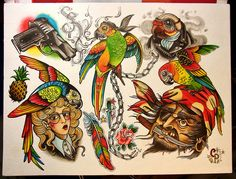 Knowledge to Knowledge: Skull Crown, Apple tattoos, Parrots ...