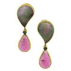 Rubellite and Tahiti Pearl Earrings  Dramatic evening drops from Atelier Zobel present deep pink rubellite tourmaline pear-shape cabochons, 21.65 carats tw, set in 18K yellow gold and suspended from iridescent 'peacock' Tahitian mabé pearls, with black diamonds. The Tahitian black pearls shimmer in shades of pink and green, accented by the transparent rubellite.