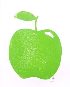 LINOCUT PRINT  green apple 8x10 linoleum block by thebigharumph, $22.00