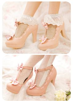 Japanese fashion pink heels  SEOULRHYTHM