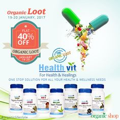 Be a Part of The Organic Loot, The Biggest Online Sale ever on Organics on 19th-20th January and get FLAT 40% OFF on HealthVit health care products. Healthvit offers a wide range of natural, herbal and Ayurvedic health care products. One stop solution for all your health and wellness needs. #theorganicloot #biggestsale #discounts #healthcare #healthsupplements #healthvit #herbalproducts #ayurvedic #health #specialoffers #megasale #organiclifestyle #healthyliving #sale #shopping