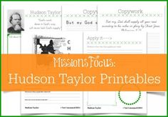 """Hudson Taylor Printables and Unit Study Resources - Not Consumed, based on the YWAM book """"Hudson Taylor, Deep in the Heart of China"""""""