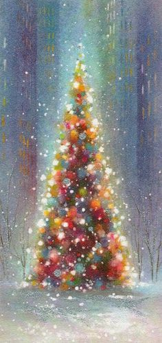 I like this Christmas tree illustration. It has a different sparkling quality to it. More