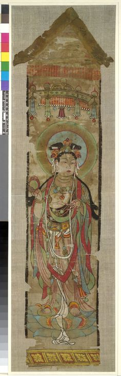 Front  Banner painted with a bodhisattva standing on a lotus under a canopy, holding a cintamani (flaming jewel). The triangular headpiece has survived, but not the streamers. Ink and colours on silk.