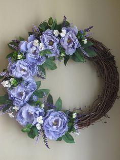Peonie Wreath Grapevine Wreath Purple Wreath by WaukeeCreations