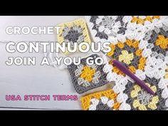 This method of joining is like magic! It is my go to method for joining squares when using one single colour - the bonus is you will only have 2 ends to sew . Granny Square Tutorial, Granny Square Häkelanleitung, Joining Crochet Squares, Granny Square Crochet Pattern, Grannies Crochet, Crochet Stitches, Quick Crochet, Manta Crochet, Crochet Videos