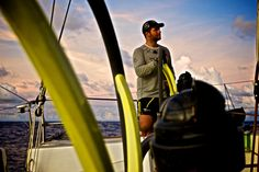 February 20, 2015. Leg 4 to Auckland onboard Team Brunel. DAY 12. Pablo Arrarte at the helm crossing the Doldrums - Stefan Coppers / Team Brunel / Volvo Ocean Race