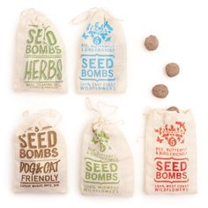 Five gumball-sized balls are packed into hand-printed muslin pouch. The ball will break up on impact with the ground and disintegrate and the red clay and worm castings in the seed bombs will enrich the soil around the seeds, helping your plants grow.