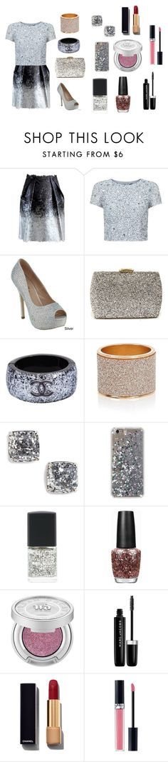 """""""Glitter Outfit And Makeup"""" by swimmingmaya12 on Polyvore featuring Hellen Van Rees, Adrianna Papell, Lulu*s, Chanel, Kate Spade, Lane Bryant, OPI, Urban Decay, Marc Jacobs and Christian Dior"""