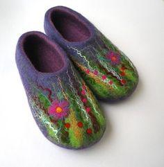 Vilten pantoffels wol / house schoenen paarse weide