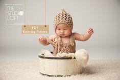 128 PDF Knitting Pattern baby Bonnet / Newborn Knitting