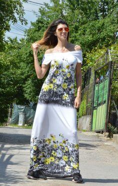 Maxi Dress / Cotton Flowers Dress / Plus size Maxi by SSDfashion