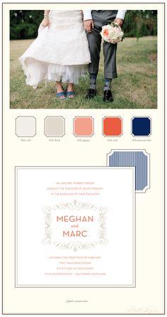 Personal vintage letterpress wedding invitations