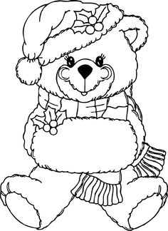 Christmas Clothes Teddy Coloring Page