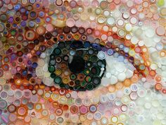 My Eye, is a detail of a portrait composed completely of plastic bottle caps and lids, all items that cannot be recycled. See this website for some more interesting bottle cap art. Plastic Bottle Caps, Bottle Cap Crafts, Plastic Art, Diy Bottle, Plastic Cups, Plastic Containers, Plastic Canvas, Beer Bottle, Bottle Top Art
