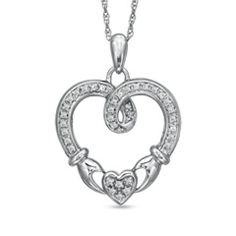1/5 CT. T.W. Diamond Claddagh Loop Heart Pendant in Sterling Silver