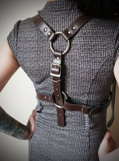 Real Leather Chest Harness Dark Brown Small to Large by Vontoon