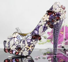 Unique design Handmade Purple Violet Bridal Shoes high heel peep toe for wedding  bridal party  298.30 2702bb2f86d4