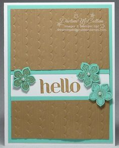 http://dreamingaboutrubberstamps.com/petite-petals-card-x-two - A clean and simple card using the Stampin' Up! Petite Petals Bundle in Baked Brown Sugar and Coastal Cabana