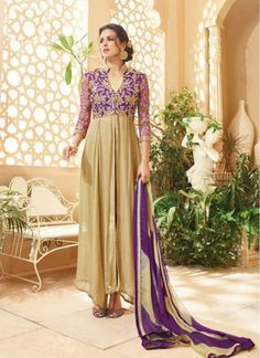 Titillating Beige and Violet Sentoon Ankle Length Anarkali Salwar Suit