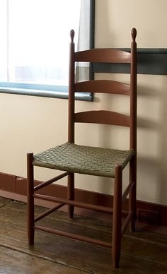 Shaker Period, 1776-1850, Shaker Chair. This is a Shaker chair because of the woven tape seat.