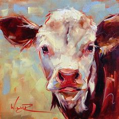 """ORIGINAL CONTEMPORARY COW PAINTING in OILS by OLGA WAGNER"" - Original Fine Art for Sale - ©Olga Wagner"