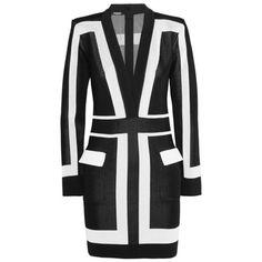 Balmain Two Tone Long Sleeved Color Blocked Dress ($1,550) ❤ liked on Polyvore featuring dresses, balmain, vestidos, short dress, long sleeve dress, v-neck dresses, sexy short dresses, color block dress and long sleeve plunge dress