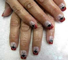 Nail Art ~ French Lady Bug French
