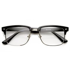 fada03bfa7 Amazon.com  zeroUV - Modified Classic Square Half Frame Clear Lens Horn  Rimmed Sunglasses (Black-Gold)  Clothing