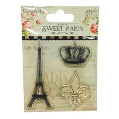 A gorgeous vintage stamp set featuring the Eiffel Tower, fleur de lis and crown, great for stamping and embossing projects.