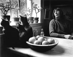 Roger Waters with his three cats.